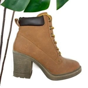 Wheat Nubuck Faux Leather Lace Up Chunky Heel Boot